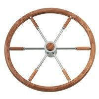 "Teakwood And Copper Sailboat Steering Wheel 16.5"" Diameter With Control Knob"
