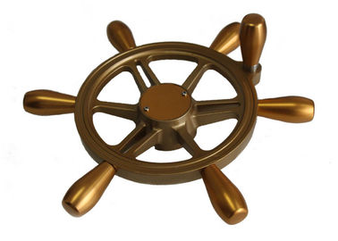 "Aluminum Alloy Golden Yacht Steering Wheel 15"" Diameter With Detachable Handle"