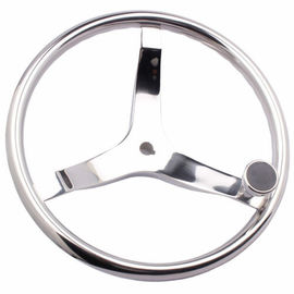 China Stainless Sailboat Steering Wheel 393MM Diameter 3 Spokes With Nut And Knob factory